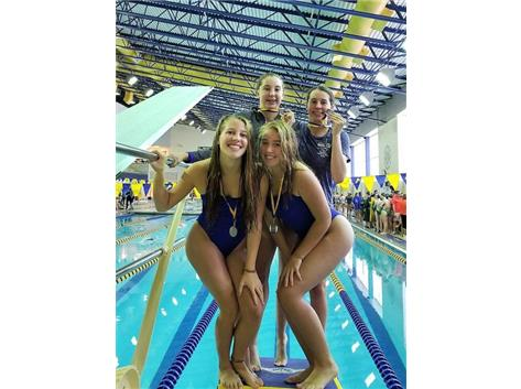 Madison, Kaitlyn, Sophia and Kylie - 2nd Place 100 Yard Freestyle Relay