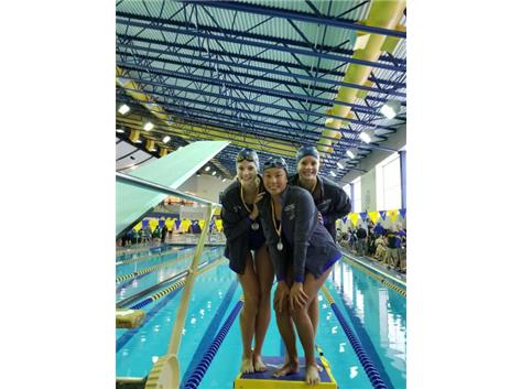 Makaila, Annie and Melanie - 2nd Place 300 Yard Breaststroke Relay