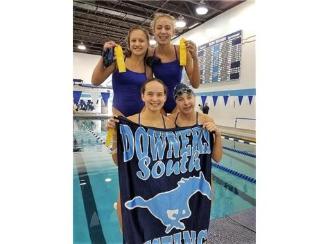 Sarah, Madeline, Mary and Madison - 4th Place 400 Yard Freestyle Relay