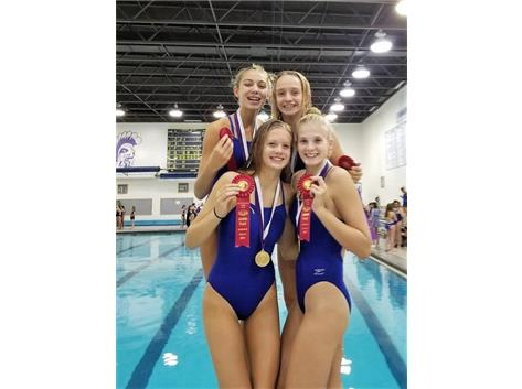 Madeline, Jorie, Melanie and Makaila - 2nd Place 200 Yard Freestyle Relay