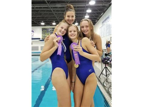 Nicki, Jorie, Makaila and Melanie - 1st Place 400 Yard Freestyle Relay