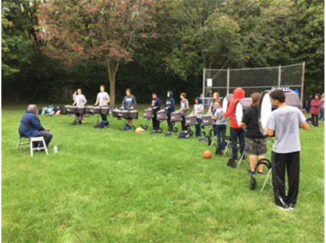 DRUM LINE SENDS OFF THE XC RUNNERS AT O'BRIEN PARK