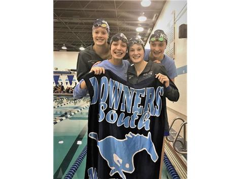 Melanie, Madeline, Makaila and Jorie - 1st Place Varsity 200 Yard Freestyle Relay