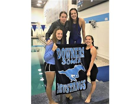Kaitlyn, Isabelle, Aoife and Sophia - 1st Place JV 400 Yard Freestyle Relay