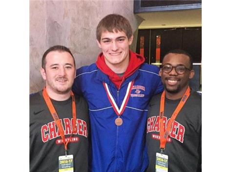 Chase Raap, Coach Hayes, & Coach Travell State Wrestling 2017
