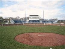 View of the baseball press box from the pitcher's mound