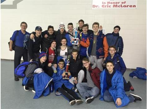Team with 2nd Place Varsity and 1st Place JV Trophies at IMSA Invitational on Jan 15.
