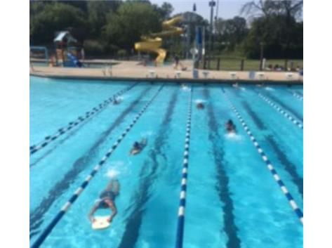 An August Practice in the Outdoor Pool.