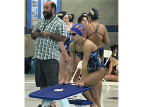 Preparing for her 500 Freestyle