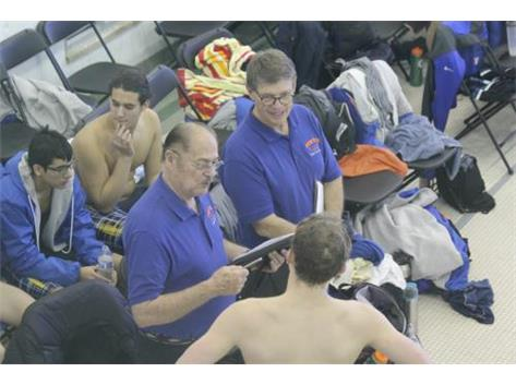 Coach Al providing instruction prior to swim.