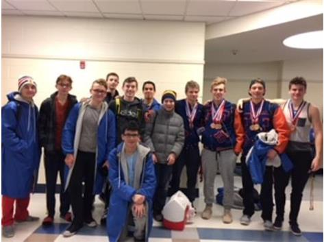 Fenton Swimmers at RBHS Conference Meet after Strong Meet Performance.