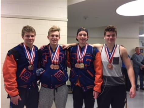 Fenton's Four Medalists at Conference Championship ~ Lucas, Matt, Nik and Conrad