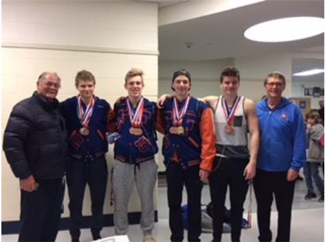 Conference Meet Medalists Lucas, Matt, Nik and Conrad with Coach Al and Coach Dan