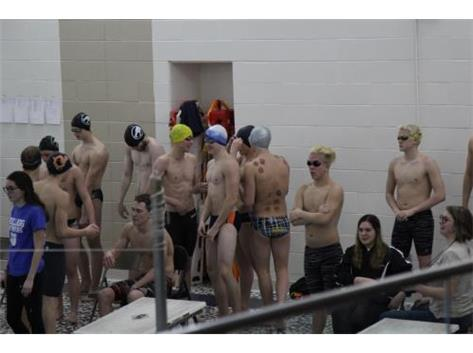 200 Relay preparing to Swim at Conference Championship.