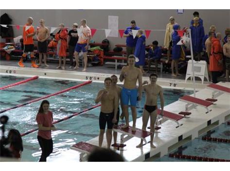 200 Medley Relay Team medalists Matt, Lucas, Nik and Conrad (1:40.34 Seconds)