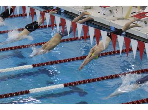 Nik in Gold Cap starting 100 Freestyle State Qualifying swim