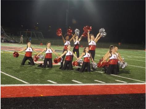 Lady Rams Dance Team end of performance formation