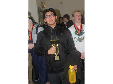 South Team Captain Erick Mendez with Little Village 1st Place Trophy