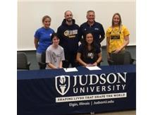 Marie Mayer and Alexis Nguyen sign with Judson College on 4/25/17.