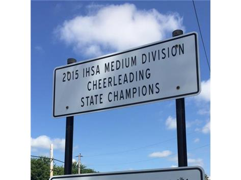 State Cheer Sign in downtown Hampshire.
