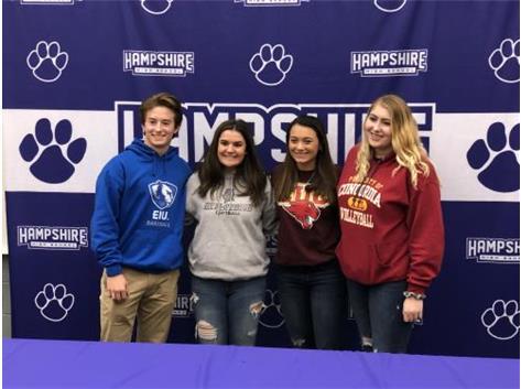 Shai-Ann Currie, Gavin Kriegel, Gwen Malecke and Haley Mohr College Signing 11/13/19.
