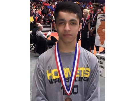 Sergio Esquivel, 6th Place, IHSA 2A State Tournament,120 lbs.