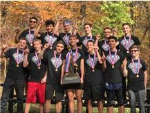 The 2016 HCA boys cross country team wins the IHSA State Championship, the first in HCA history.    WE ARE LIONS