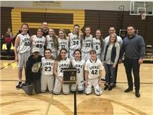 HCA girls varsity basketball team wins 2018 IHSA Class 2A Regional championship, their 4th consecutive Regional Title.  WE ARE LIONS