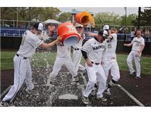 Baseball coach Matt Ellett gets a Gatorade bath following the 2019 Regional Championship.
