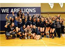 HCA Volleyball team celebrates winning the 2018 Regional Championship.