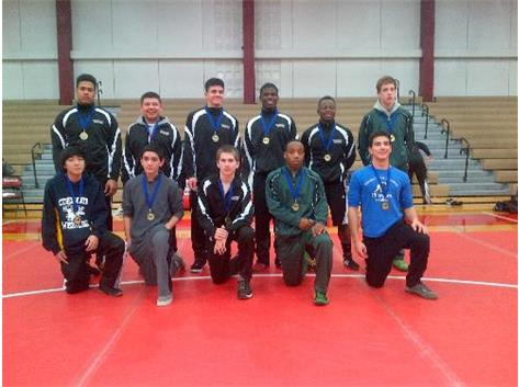 Picture of NAC Wrestling individual champions.  HCA's Rickey Lattanzio, front row-second from left, wins title at 113lbs.  WE ARE LIONS