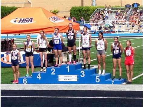 Valerie Richter achieves All-State status with an 8th place finish at the IHSA Track and Field state finals in the 800M run.  
