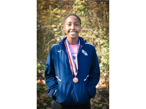HCA Sophomore Nygia Pollard achieves All-State status with her 10th place finish in the IHSA Class 1A girls cross country state finals.  