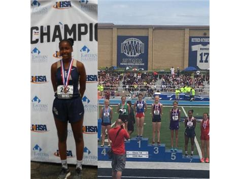 Nygia Pollard places 7th in the 3200M run at the 2017 IHSA Track and Field state finals, earning All-State honors.