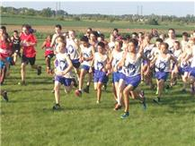 The Herget boys cross country team takes off at the start of the race.
