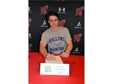 Congratulations, JP McClear!  He will be on the rowing team at Rollins College in the fall!