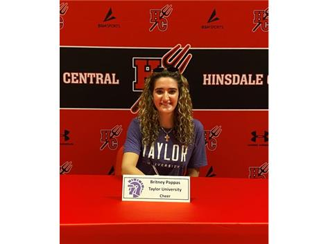 Congratulations Britney Pappas! She will cheer at Taylor University!