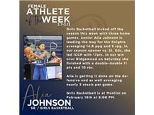 Sr. Alia Johnson named Female Athlete of the Week (Feb 7)