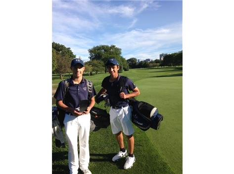 Trey Morris and Troy Simonides after teeing off at scenic Marovitz Golf Club