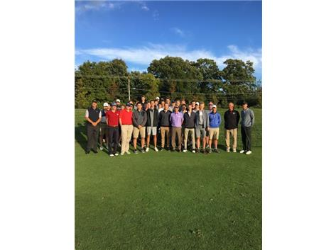 The golfers and coaches of IC Catholic Prep, York and Timothy Christian gather for a picture with Mark Wilson, after his clinic.