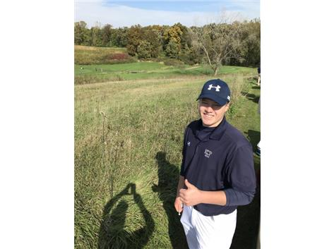 Captain Thomas Hilgart just prior to teeing off at the Sectionals tournament at Silver Ridge Golf Club in Oregon, IL