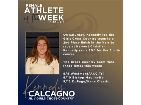 Kennedy Calcagno named Female Athletic of the Week (8.30)
