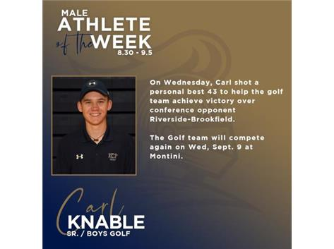 Carl Knable named Male Athlete of the Week (8.30)