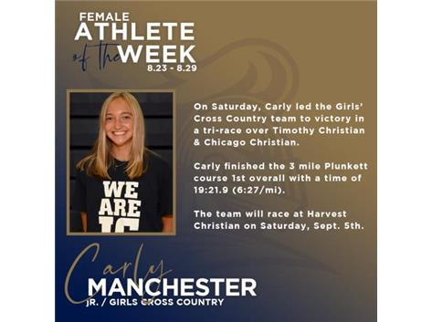 Carly Manchester named Female Athlete of the Week (8-23-2020)