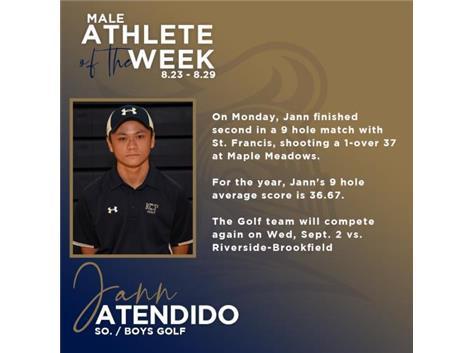 Jann Atendido named Male Athlete of the Week (8-23-2020)