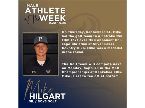 Michael Hilgart named Male Athlete of the Week (9.20)