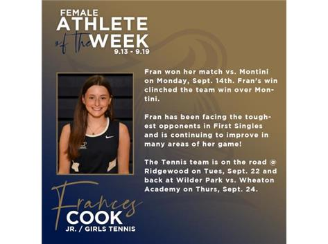 Fran Cook named Athlete of the Week (9.13).