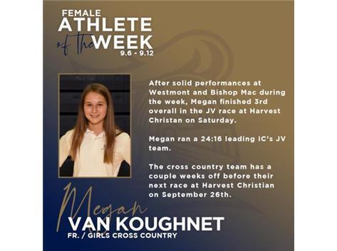 Megan Van Koughnet named Athlete of the Week (9.6).