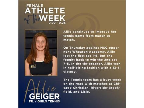 Allie Geiger named Athlete of the Week (9.20)