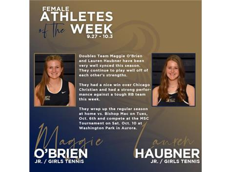Maggie O'Brien and Lauren Haubner named Athletes of the Week (9.27)